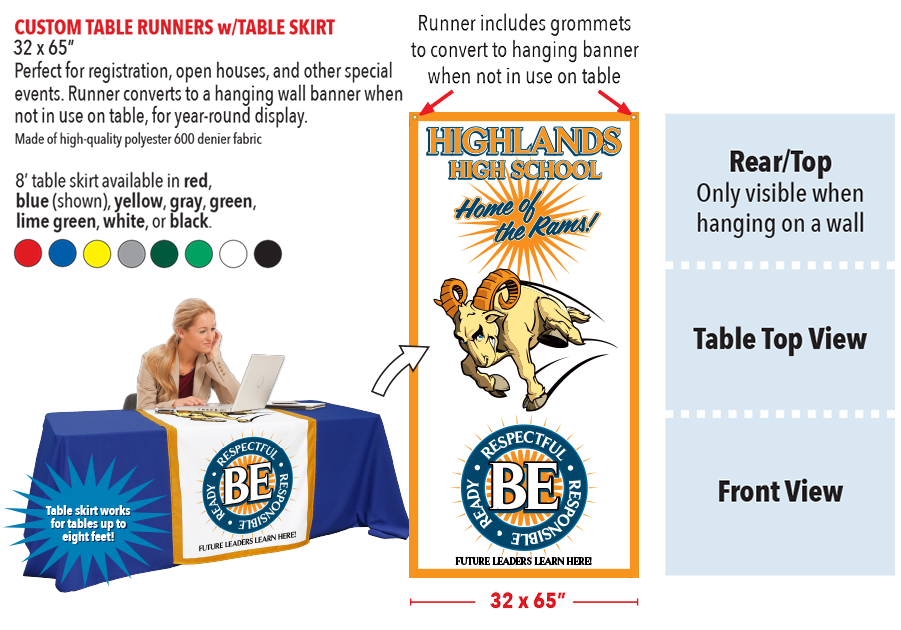 PBIS Custom Table Runners with TableSkirts